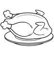 roast chicken outline vector image
