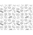seamless pattern doodle cookies and biscuit vector image vector image