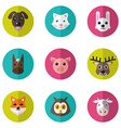 Set of Cute Animals Icons With Flat Design vector image vector image