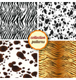 set of seamless pattern design animal print vector image