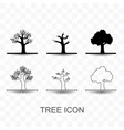 set tree icon simple flat style vector image