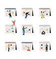 small people planning important events on big vector image vector image