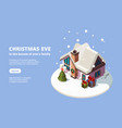 snow house xmas building with holiday gifts green vector image vector image