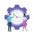 time management people with big clock isolated vector image vector image
