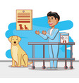 veterinary with dog in medical center vector image