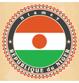 Vintage label cards of Niger flag vector image vector image