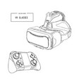 virtual reality headset glasses realistic sketch vector image vector image