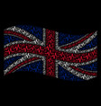 waving united kingdom flag pattern of pulse items vector image