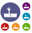 zombie hand coming out of his coffin icons set vector image vector image