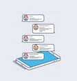 isometric mobile phone with chat messages vector image