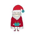 santa claus cartoon character with gift box vector image