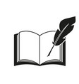 a book and a pen feather icons vector image vector image