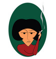 a sad woman smoking cigarette is disturbed about vector image