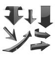 black 3d arrows shiny icons vector image vector image