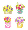 bouquets in box collection vector image