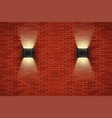 brick wall room with vintage sconce lamps vector image vector image