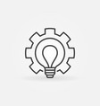 bulb in gear outline icon - cogwheel with vector image vector image