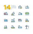 cars - set of line design style colorful icons vector image