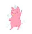 cartoon joyful pig on a white vector image