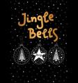christmas card gold jingle bells balls vector image vector image