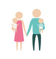 color silhouette pictogram parents with a baby boy vector image vector image