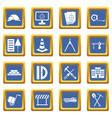 construction icons set blue vector image vector image