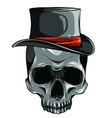 cowboy skull wearing a stylish brown fedora hat vector image
