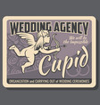 cupid with bow wedding ceremony organization vector image