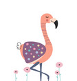 cute flamingo in flowers poster for baby room vector image