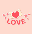 cute inscription love heart in wings icon vector image vector image