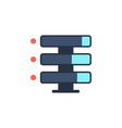 data storage with files line icon vector image vector image