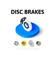 Disc brakes icon in different style vector image