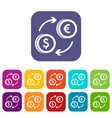 euro dollar euro exchange icons set vector image