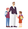 father with schoolchildren flat parent taking vector image