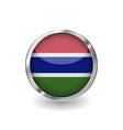 flag of gambia button with metal frame and shadow vector image