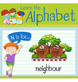 Flashcard letter N is for neighbour vector image vector image