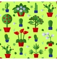Floral Flat Plants Icons Seamless Pattern vector image vector image