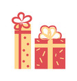 gift boxes decorated with bows vector image vector image