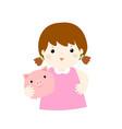 girl saving money hold piggy bank cartoon vector image vector image