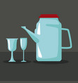 glass jug with cups vector image vector image