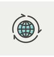 Globe with arrow around thin line icon vector image