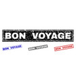 grunge bon voyage textured rectangle stamps vector image vector image
