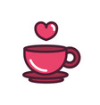 happy valentines day coffee cup heart love vector image
