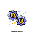 icon gear wheels with dollar for financial process vector image vector image