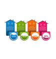 infographics with colorful houses vector image vector image