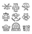 labels set for beauty salon monochrome pictures vector image