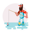 man standing in water and caching a fish vector image vector image