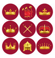 medieval kings attributes in scarlet circles set vector image vector image