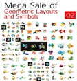 Mega collection of abstract symbols vector image vector image