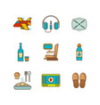 minimal lineart flat airplane travel icon set vector image vector image